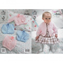 KC4175 Cardigans and Waistcoat for Babies in King Cole Cuddles Chunky