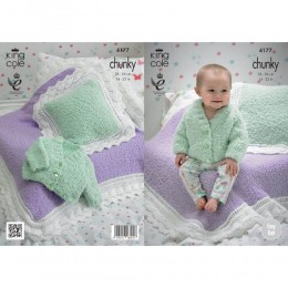 KC4177 Blanket, Cusion and Cardigan for Babies in King Cole Cuddles Chunky