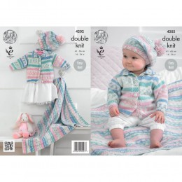 KC4202 Cardigan, Blanket and Beret for Babies in King Cole Cherish DK