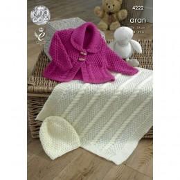 KC4222 Jacket, Blanket and Hat for Babies in King Cole Comfort Aran