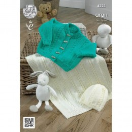 KC4223 Cardigan, Hat and Blanke for Babies in King Cole Comfort Aran