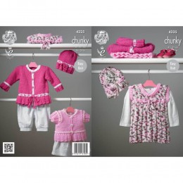 KC4225 Pinafore Dress, Cardigans and Hat for Babies in King Cole Comfort Multi Chunky