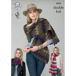 KC4235 Shawls and Snoods for Women in King Cole Riot DK