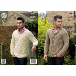 KC4240 Jacket and Sweater for Men in King Cole Fashion Aran