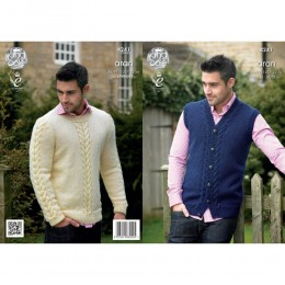KC4241 Waistcoat and Sweater for Men in King Cole Fashion Aran