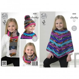 KC4242 Poncho, Snood, Scarf and Hat for Children in King Cole Big Value Multi Chunky
