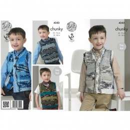 KC4243 Slipovers and Waistcoat for Children in King Cole Big Value Multi Chunky