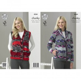 KC4244 Cardigan and Waistcoat for Women in King Cole Big Value Multi Chunky