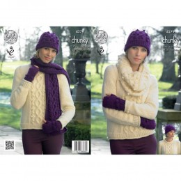 KC4279 Women Sweater, Cowl, Hat, Scarf and Fingerless Gloves Knitted with New Magnum Chunk