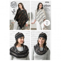 KC4326 Women Poncho's, Hat and Snood Knitted with Urban
