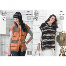 KC4331 Women Tabards and Hat Knitted with Urban