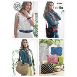 KC4340 Belt, Bracelets, Bags and Purses Knitted with Raffia