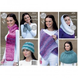 KC4354 Women Scarf, Shoulder Wrap, Snood, Polo Shoulder Cover, Hat and Wrist Warmers Knitted with Big Value Super Chunky Tints