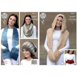 KC4355 Women Hooded Scarf, Scarf, Snood, Slouchy Hat and Hand Warmer Knitted with Big Value Super Chunky Tints