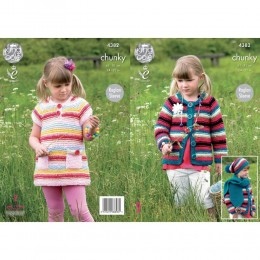 KC4382 Girl's Dress, Cardigan, Hat and Scarf Knitted with Big Value Chunky
