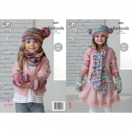 KC4391 Girl's Snood, Hats, Mittens and Scarf Knitted with Bamboozle