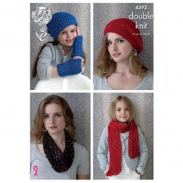 KC4393 Children's an Women Hats, Scarf & Snood Knitted with Cosmos & Smooth DK