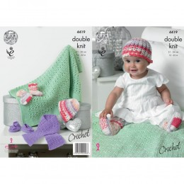 KC4419 Baby's Crochet Hat, Scarf, Shoes, Socks & Blanket Crocheted with Cherish DK/Cherished DK