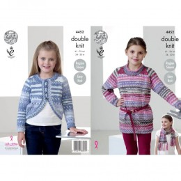 KC4452 Girl's Tunic, Cardigan & Scarf Knitted with Drifter DK