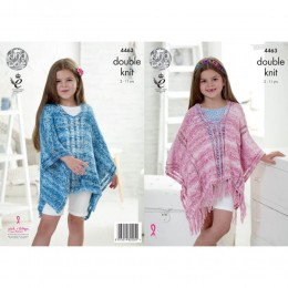 KC4463 Girl's Ponchos Knitted with Vogue DK