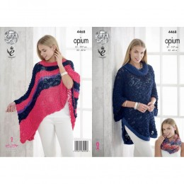 KC4468 Women Poncho, Cape and Snood Knitted with Opium Palette