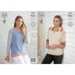 KC4479 Women Polo Shirt and Sweater Knitted with Bamboo Cotton 4Ply
