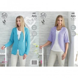 KC4481 Women Cardigan and Bolero Knitted with Bamboo Cotton 4Ply