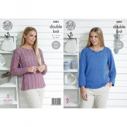 KC4483 Women Top and Cardigan Knitted with Bamboo Cotton 4Ply