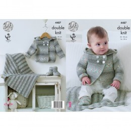 KC4487 Baby Hooded Jacket, Blanket & Bootees Knitted with Drifter for Baby DK