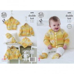 KC4490 Baby Raglan Cardigans, Hat & Socks Knitted with Drifter for Baby DK