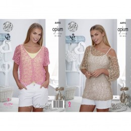 KC4495 Women Mesh Wide-Necked Tunic and V-Neck Top Crocheted in Opium