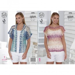 KC4496 Women Mesh T-Shirt and Cardigan Crocheted with Opium Palette