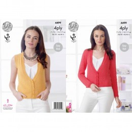 KC4499 Women Cardigan and Waistcoat Knitted with Giza Cotton 4 Ply