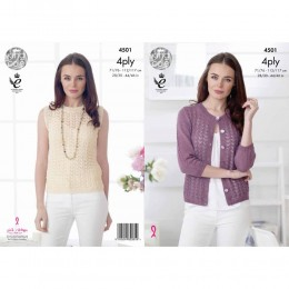 KC4501 Women Cardigan and Top Knitted with Giza Cotton 4 Ply