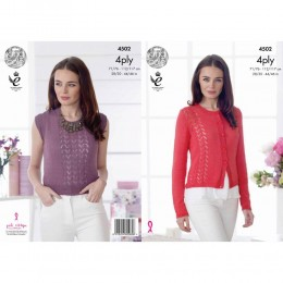 KC4502 Women Cardigan and Top Knitted with Giza Cotton 4 Ply