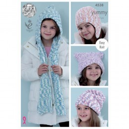 KC4538 Children's Hats and Scarf Knitted with Yummy
