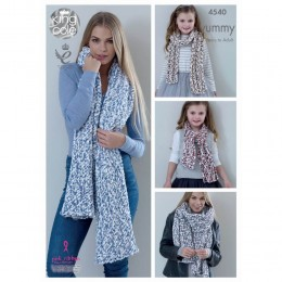 KC4540 Ladies Shawls & Girls Scarves Knitted with Yummy