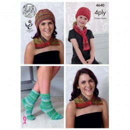 KC4640 Women Neck Wrap, Hat, Scarf & Socks Knitted in Party Glitz 4Ply