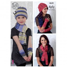 KC4642 Girl's, Women Scarf, Hat & Wrist Warmers Knitted in Party Glitz 4Ply
