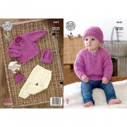 KC4645 Children's Sweater, Trousers, Hat & Mittens Knitted with Comfort Aran