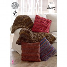 KC4665 Throw & Cushion Covers Knitted in Corona Chunky