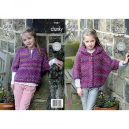 KC4667 Girl's Ponchos Knitted in Corona Chunky