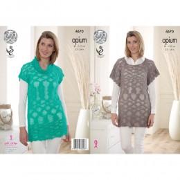 KC4670 Women Slouch Tunic & Cowl Neck Top Knitted with Opium DK