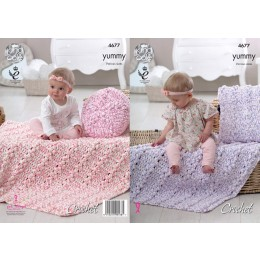 KC4677 Crochet Cushion and Blanket in King Cole Yummy