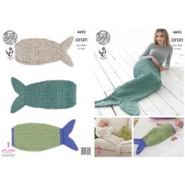 KC4693 Mermaid Tail Blanket in Aran