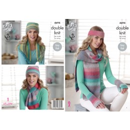 KC4694 Women Scarves, Hat, Fingerless Gloves, Headband & Neck Warmer Knitted in Sprite DK