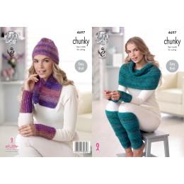 KC4697 Women Scarf, Hat, Leg & Wrist Warmers & Shoulder Wrap Knitted in Corona Chunky