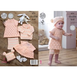 KC4731 Hat, Dress and Leggings for Babies in King Cole Comfort DK