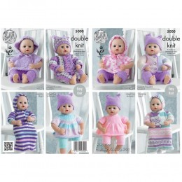 KC5000 Dolls Clothes Knitted with Various King Cole DK