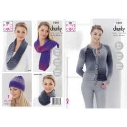 KC5240 Women's Cardigan, Hat, Cowls & Scarf in King Cole Twirly Tweed Chunky